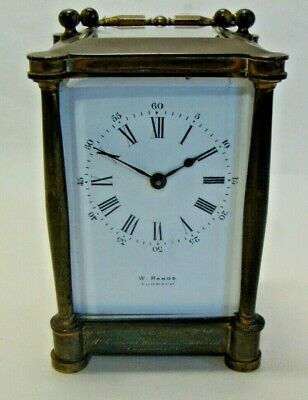 Early 20th century brass cased carriage clock by W HANDS NORWICH