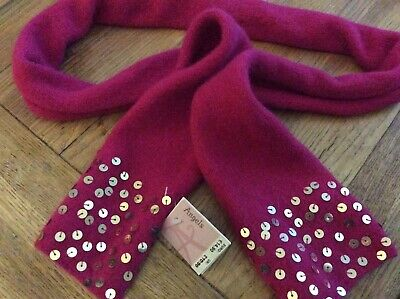 Monsoon Accessorize  Angels Girls' Fuchsia Pink Sequinned Wool Scarf NEW