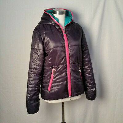 FILA F BOX Ladies Black with Hot Pink Zipper Quilted Hooded Jacket Size Medium