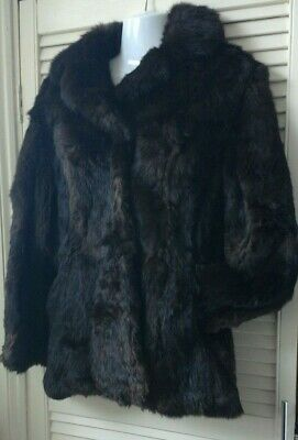 vintage glossy chocolate brown real rabbit coney fur coat jacket size 8 - 10