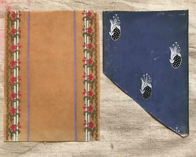 2 BEAUTIFUL MID 19th CENTURY ANTIQUE HAND PAINTED FRENCH SILK RIBBON DESIGNS 5.