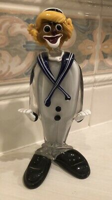 "Murano Art Glass Clown The Sailor 11"" Tall"