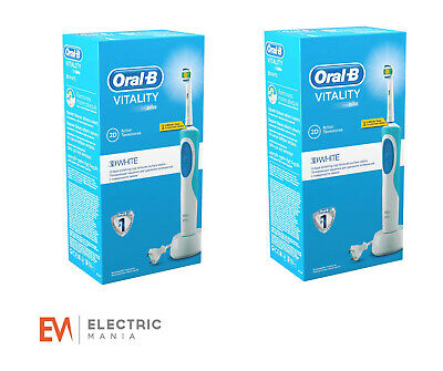 2 x Braun Oral-B Vitality 3D White Rechargeable Electric Toothbrush With Timer