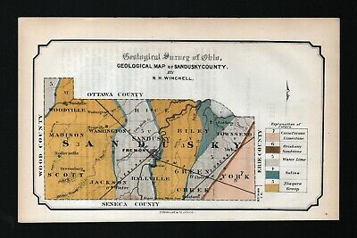 1873 Geological Survey Map Sandusky County Ohio Fremont Geology Antique Winchell