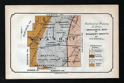 1873 Geological Survey Map Wyandot County Ohio Upper Sandusky Geology Antique