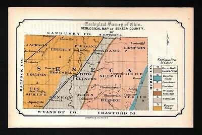1873 Geological Survey Map Seneca County Ohio Tiffin Fostoria Geology Antique