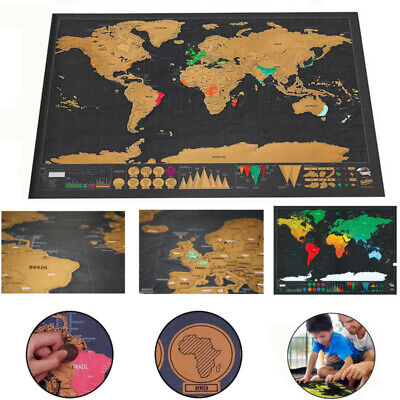 Travel Tracker Large Scratch Off World Map 42x30cm UK States Cities with Tube