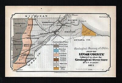 1873 Geological Survey Map Lucas County Ohio Toledo Maumee Bay Geology Antique