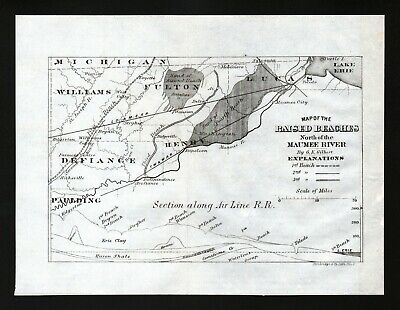 1873 Geological Survey Map Maumee River & Lake Erie Beaches Sand Toledo Antique