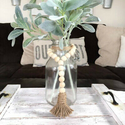 DIY Nordic Retro Wooden Beads Tassels Hanging Ornament Bedroom Home Wall Decor
