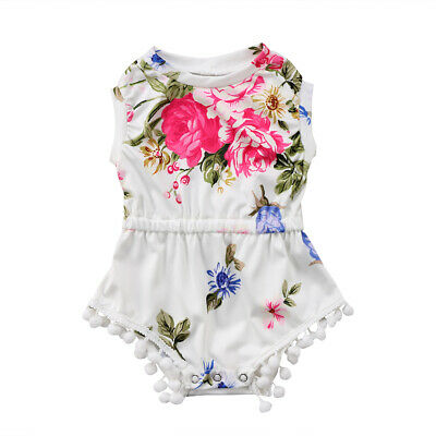 White Baby Girl's Floral Romper Infants Sleeveless Tassel One Piece Outfit Cute