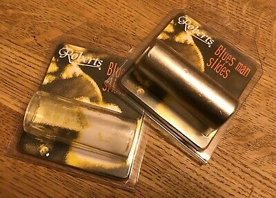 Two slides for guitar, One clear and one alloy. Length 60mm. Diameter 18 / 23mm.