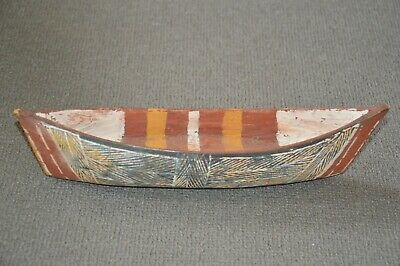 Vintage Aboriginal Carved - Hand Painted Canoe from N.Territory.