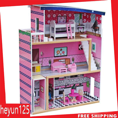 Large Children's Wooden Pink Dollhouse Fits Barbie Doll House 18 Pcs Furniture