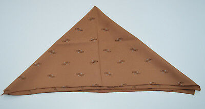 "Brown Silk Floral Square Handkerchief Scarf Vintage 20"" x 20.5"""