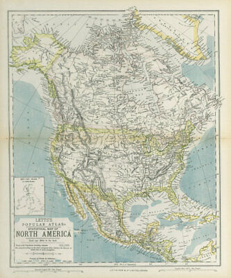 NORTH AMERICA showing Union Pacific transcontinental railroad. LETTS 1883 map