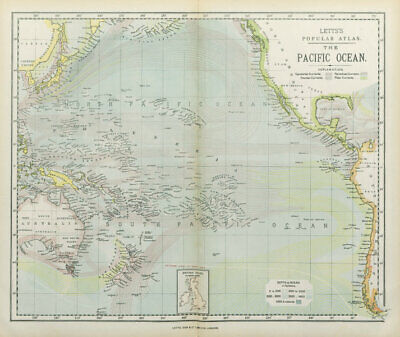 PACIFIC OCEAN & ISLANDS. Australasia. Currents. LETTS 1883 old antique map
