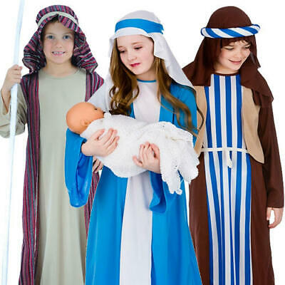 Christmas Nativity Kids Fancy Dress Mary Joseph Shepherd Boys Girls Xmas Costume