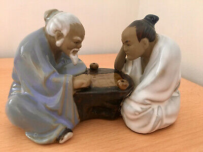 Chinese Mud Men Figurine, Two men playing board game signed glazed
