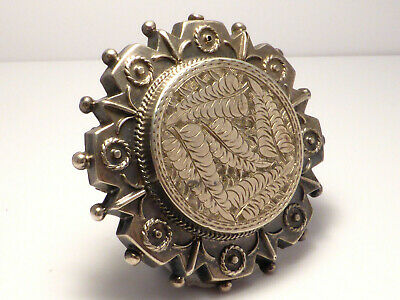 Fine Antique Large Victorian c1890 Sterling Silver Floral Etched Pin Brooch 6.7g