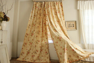 Pair of Vintage Curtains Faded floral French Cotton Fabric 1890 Huge Bobble Trim