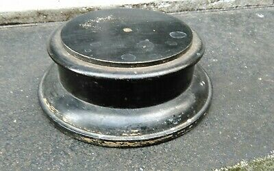 VINTAGE SHABBY CHIC BLACK PAINTED WOOD VASE TROPHY BOWL FIGURE STAND yy