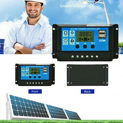 12V/24V Solar Charged Controller Kit PWM LCD Dual 2 USB Output Charger Regulator