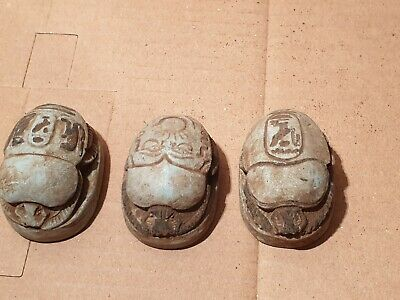 Scarce Antique Ancient Egyptian 3 Scarab Good Luck & Life Hiroglyphic1420BC