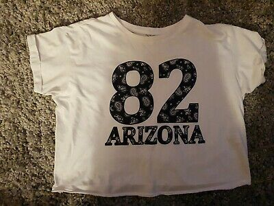 "Girls white New Look 912 Generation ""82 Arizona"" cropped T Shirt. Age 12-13."