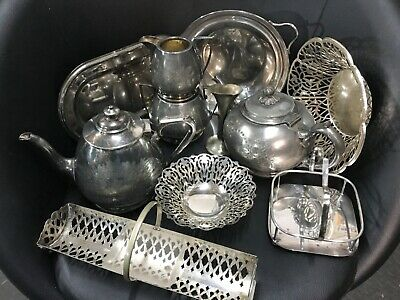 Job Lot Nice Antique Vintage Silver/Chrome Plated EPNS Items Approx 4kg packed