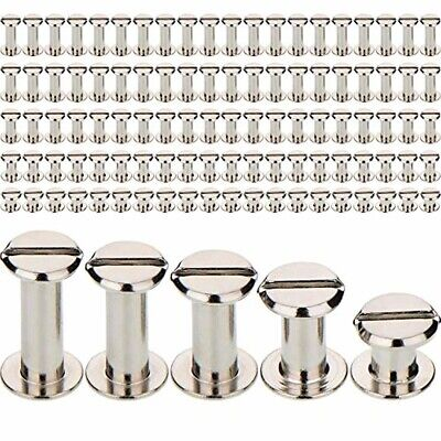 100 PCS Silver Chicago Screws Metal Posts Nail Rivet Button Leather Craft 5 Size