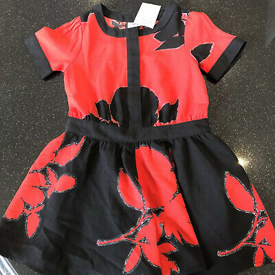 Bnwt Next Red & Black Floral Stunning Girls Playsuit Dress Christmas Party 4yrs