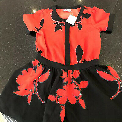 Bnwt Next Red & Black Floral Stunning Girls Playsuit Dress Christmas Party 8 Yrs