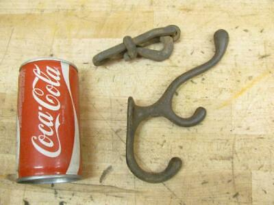 Unique Antique Cast Iron Spring Rope Barn Latch & Hook
