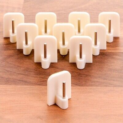20x WHITE SELF ADHESIVE CURTAIN ROD END Sticky uPVC Window Net Wire Hook Holder