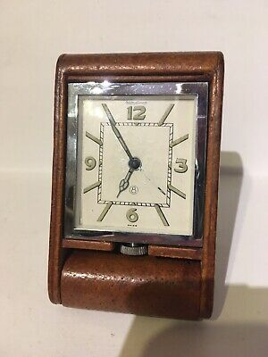 art deco Jaeger LeCoultre 8-day Travel Alarm Clock Vintage. f.w.o