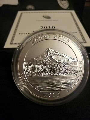 2010-P Mount Hood America The Beautiful 5 Oz .999 Silver Coin With Box & COA