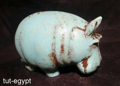 Rare Art Egyptian Hippo Hippopotamus Statue Figurine Egypt Sculpture unique Blue