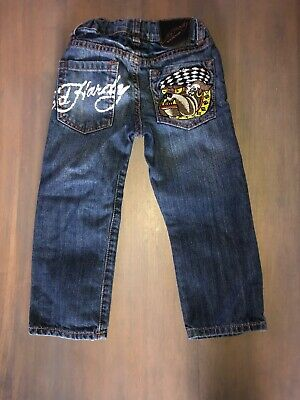 ED HARDY KIDS BOYS Graphic Embroidered pocket jeans Sz 4