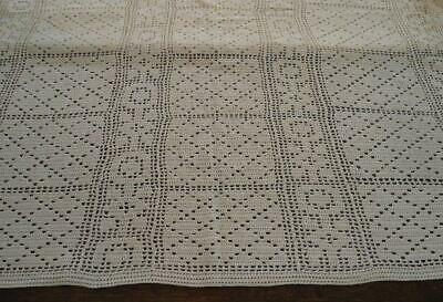 True Vintage Filet Crochet Lace Tablecloth Ecru Geometric Cotton Coverlet 71""