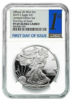 2019 S Limited Edition Silver Proof Eagle NGC PF69 Ultra Cameo - First Day Issue