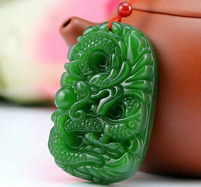 100% Natural green Chinese Hetian Jade 100% Hand-carved dragon Pendant a11