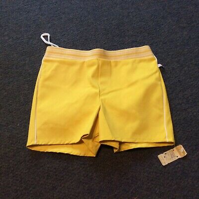 Vintage Yellow Jantzen Stretch Swimsuit Shorts 32 NOS