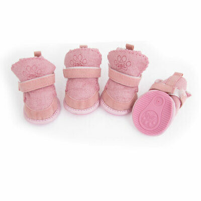 4 Pcs Footprint Printed Nonslip Sole Shoes Size 4 Pink for Pet Doggy
