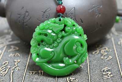 """Chinese green jade hand carving """"China Dragon"""" Good luck necklace pendant a37"""