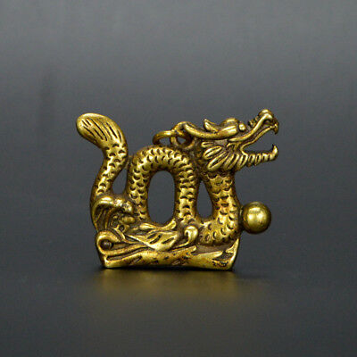 Chinese old collection handwork bronze Zodiac Dragon God statue Pendant a47