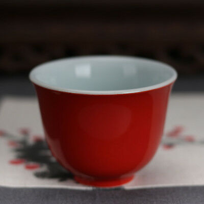 China antique Porcelain Ming xuande red glaze gongfu Wine Glass tea cup a100
