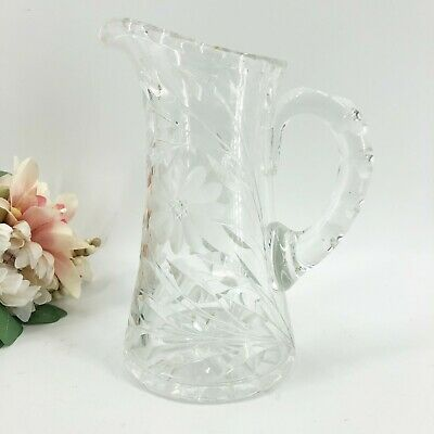 Vintage Crystal Cut Glass Floral Water Wine Pitcher Heavy American Brilliant