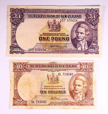 New Zealand Banknotes - 10 Shilling and 1 Pound Fleming (2 notes) D11-1870