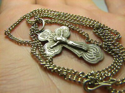 CRUCIFIXION ! STERLING SILVER  VINTAGE CROSS PENDANT with CHAIN #1525